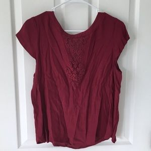 Dark pink blouse with lace detail